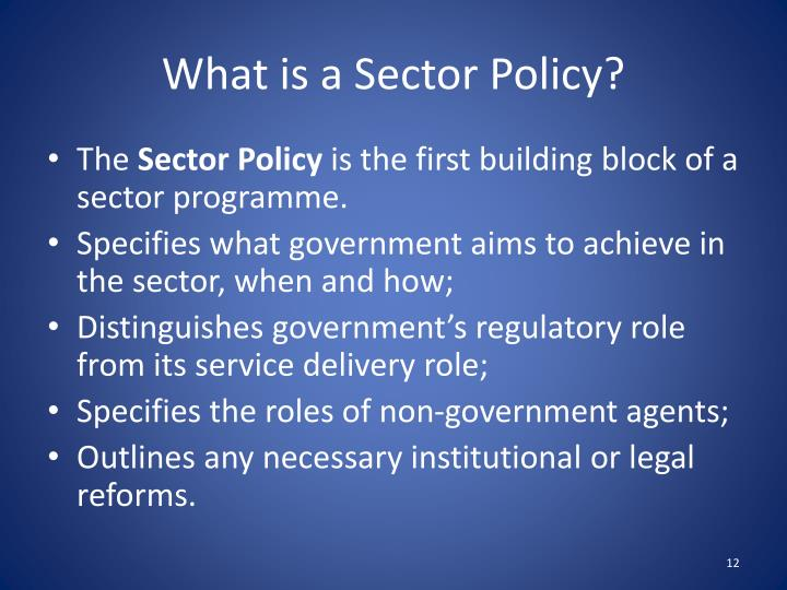 What is a Sector Policy?