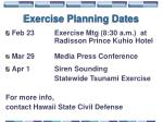 exercise planning dates