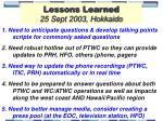 lessons learned 25 sept 2003 hokkaido