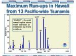 maximum run ups in hawaii from 13 pacific wide tsunamis