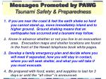 messages promoted by pawg tsunami safety preparedness