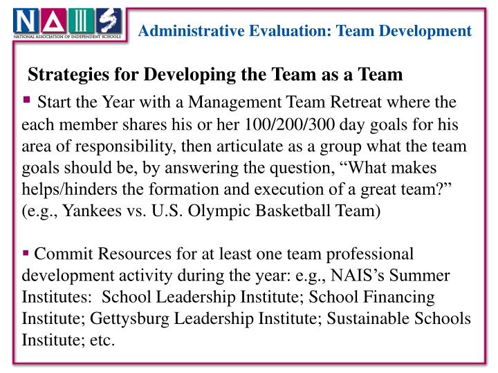Administrative Evaluation: Team Development