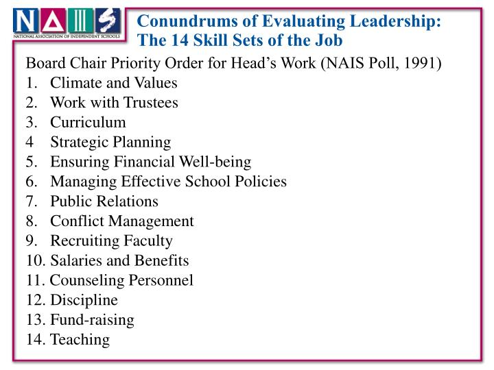Conundrums of Evaluating Leadership: The 14 Skill Sets of the Job