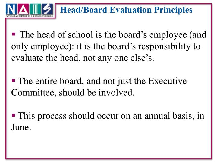Head/Board Evaluation Principles