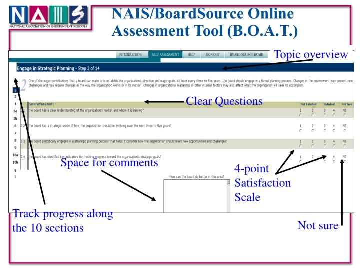 NAIS/BoardSource Online Assessment Tool (B.O.A.T.)
