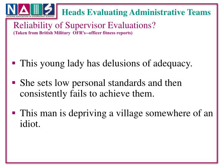 Heads Evaluating Administrative Teams