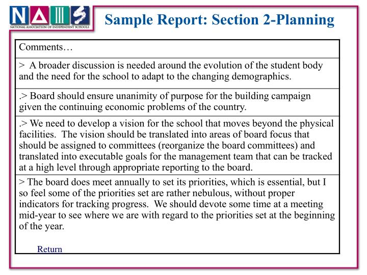 Sample Report: Section 2-Planning