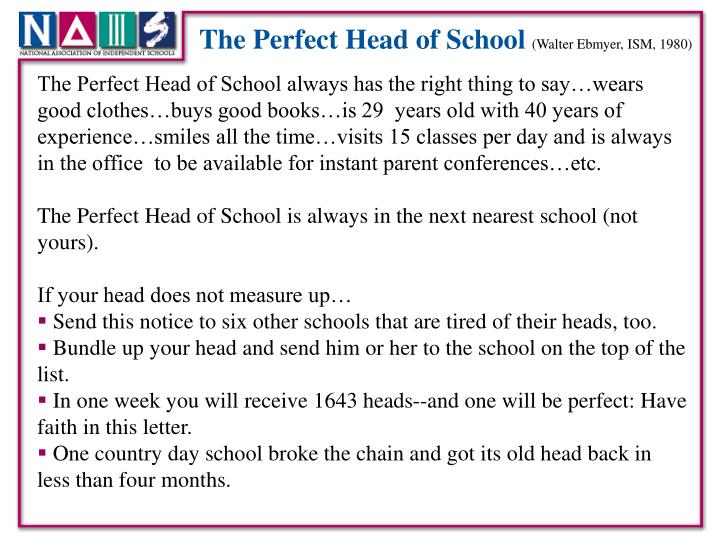 The Perfect Head of School