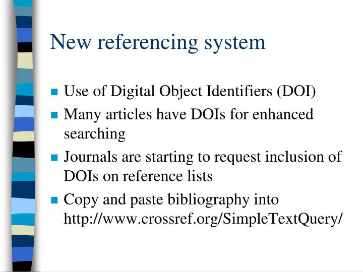 New referencing system