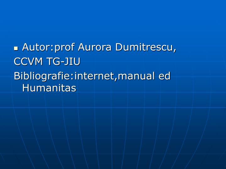 Autor:prof Aurora Dumitrescu,