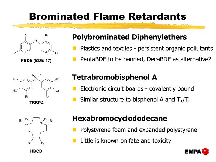 market brominated flame retardants Brominated flame retardants have been subjected to intensive assessment and have been identified as safe for use in consumer products all flame retardants produced by bsef member companies currently on the market have thoroughly been assessed by independent experts in addition to this.