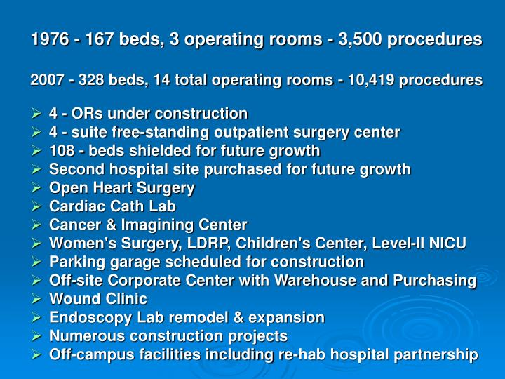 1976 - 167 beds, 3 operating rooms - 3,500 procedures