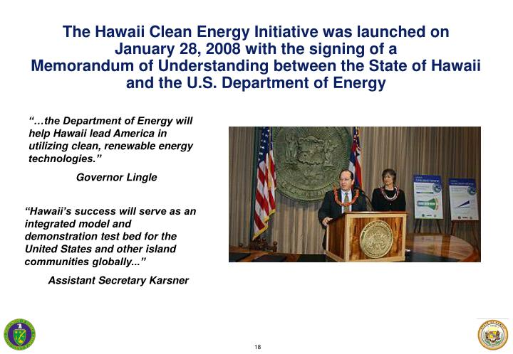 The Hawaii Clean Energy Initiative was launched on
