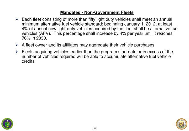 Mandates - Non-Government Fleets