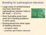 breeding for submergence tolerance
