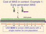 cost of mas in context example 1 early generation mas