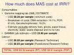 how much does mas cost at irri