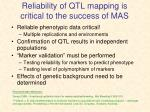 reliability of qtl mapping is critical to the success of mas