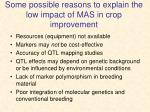 some possible reasons to explain the low impact of mas in crop improvement