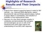 highlights of research results and their impacts cont d
