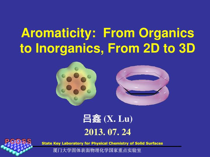 aromaticity from organics to inorganics from 2d to 3d n.