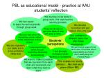 pbl as educational model practice at aau students reflection