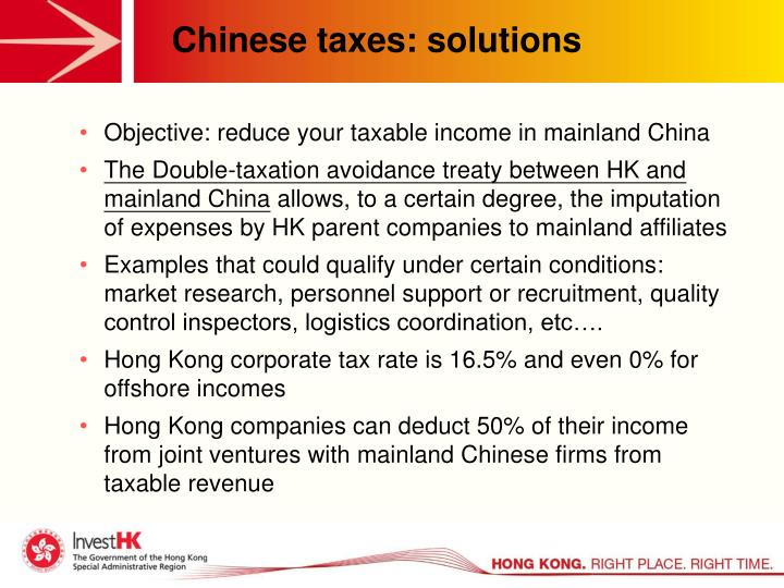 Chinese taxes: solutions