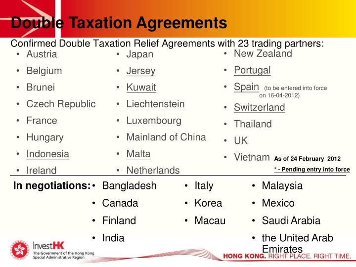 Confirmed Double Taxation Relief Agreements with 23 trading partners: