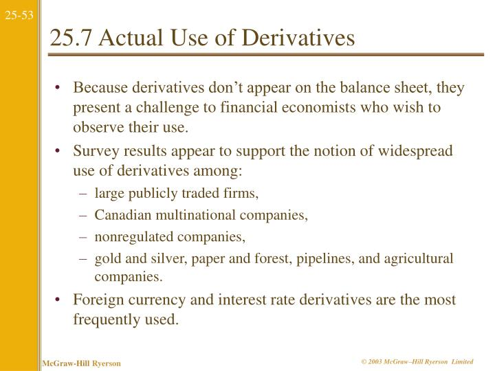 25.7 Actual Use of Derivatives