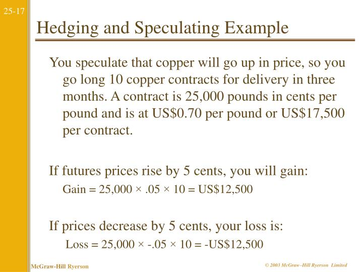 Hedging and Speculating Example