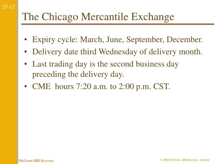 The Chicago Mercantile Exchange