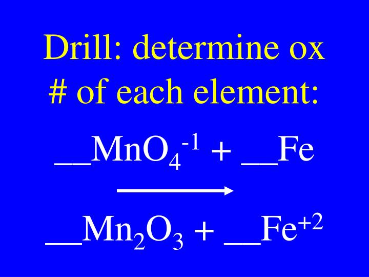 Drill: determine ox # of each element: