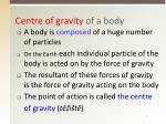 centre of gravity of a body
