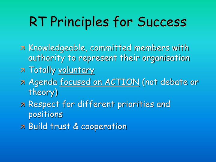 RT Principles for Success