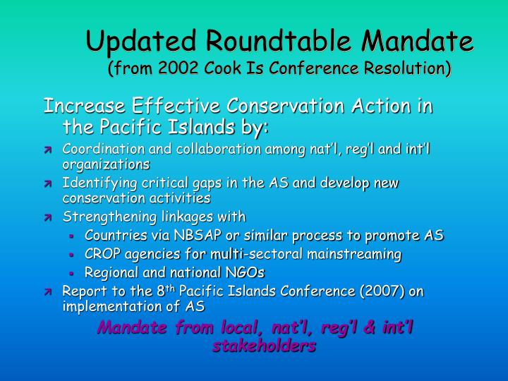 Updated Roundtable Mandate