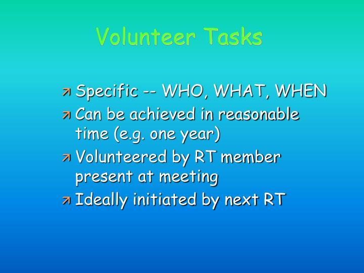 Volunteer Tasks