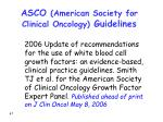 asco american society for clinical oncology guidelines