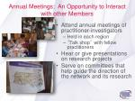 annual meetings an opportunity to interact with other members