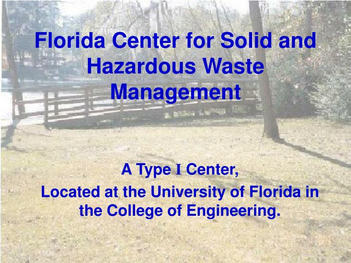 florida center for solid and hazardous waste management n.