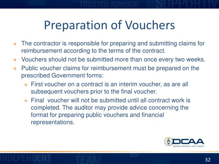 Preparation of Vouchers