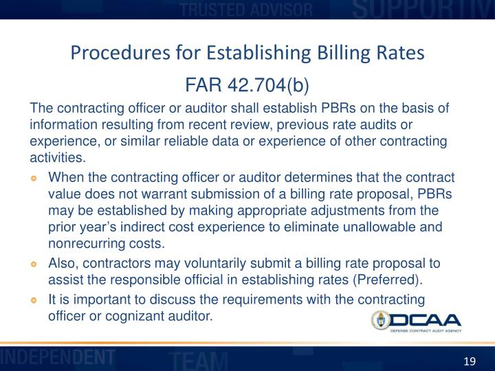 Procedures for Establishing Billing Rates