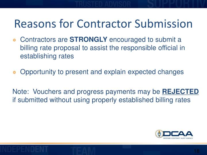 Reasons for Contractor Submission