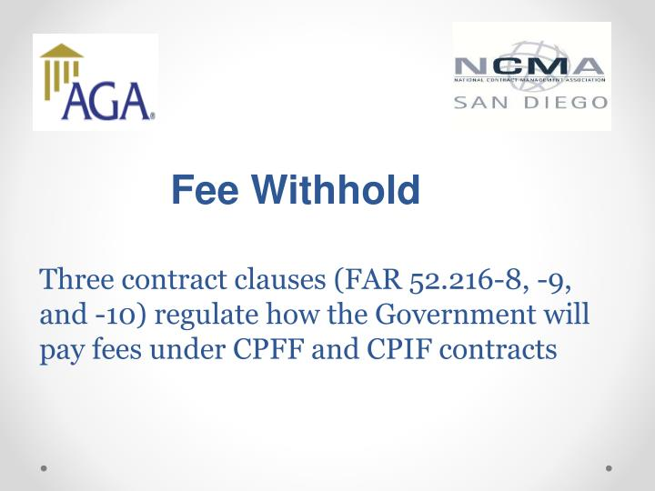 Fee Withhold