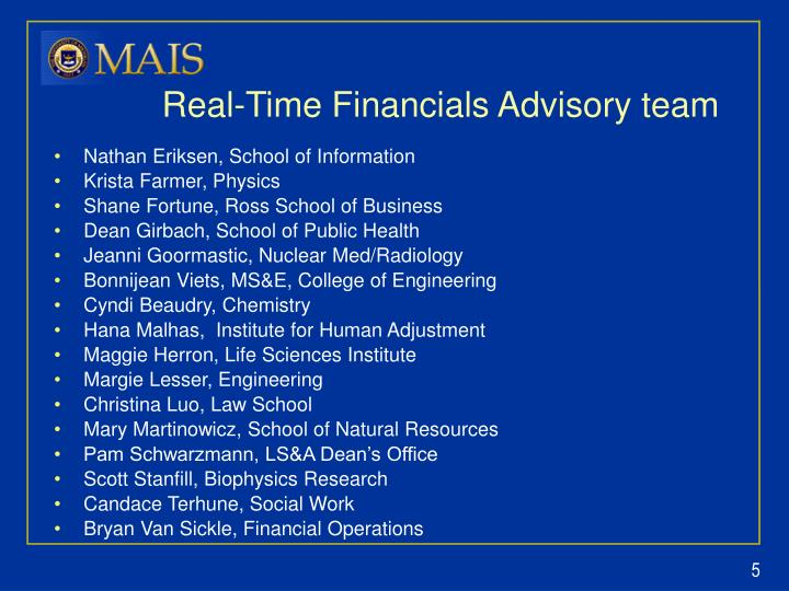 Real-Time Financials Advisory team