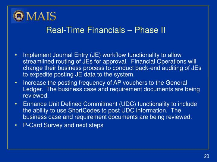 Real-Time Financials – Phase II