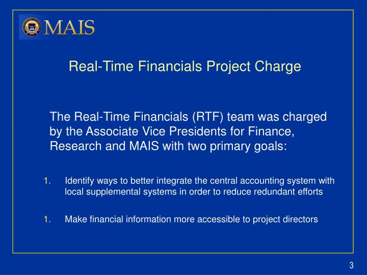 Real time financials project charge