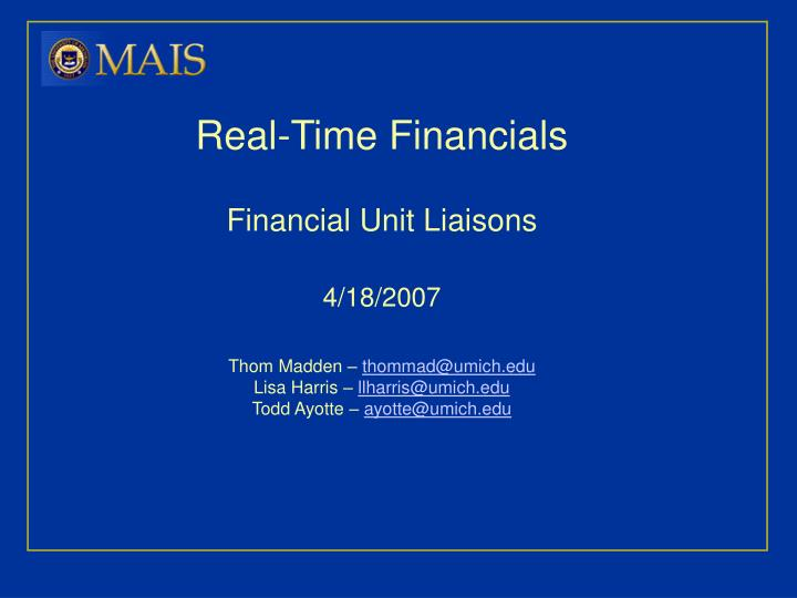 Real-Time Financials