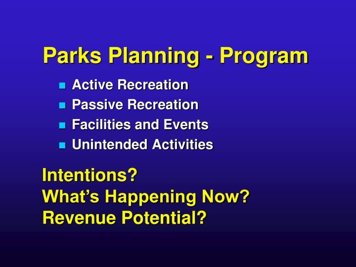 Parks planning program