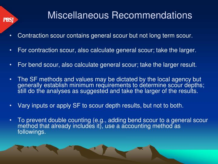 Miscellaneous Recommendations