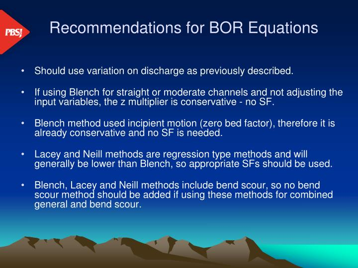 Recommendations for BOR Equations